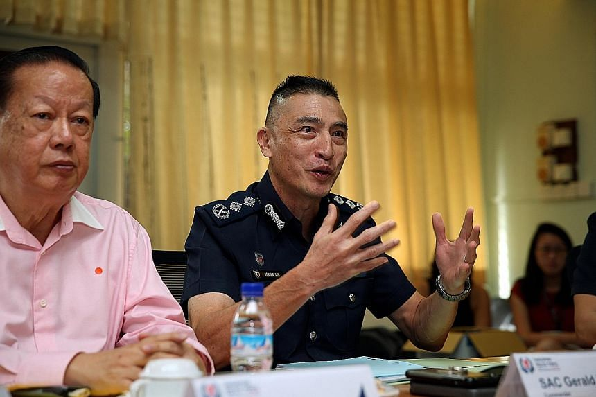 Traffic Police commander Gerald Lim addressing the media at the release of the Annual Road Traffic Situation 2019 report yesterday, along with Singapore Road Safety Council chairman Bernard Tay. Overall, there has been an improvement in the road traf