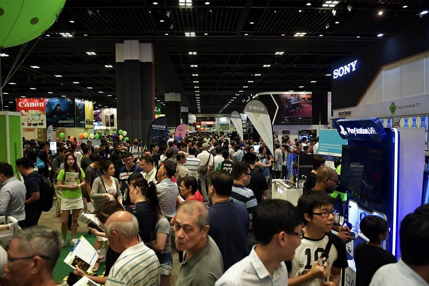 Visitors at the IT Show 2018 held at the Suntec Singapore Convention and Exhibition Centre on March 15, 2018.