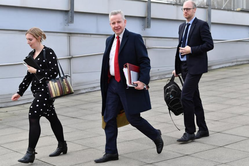 In a photo taken on Jan 31, 2020, Britain's Chancellor of the Duchy of Lancaster Michael Gove arrives to attend a cabinet meeting held at the University of Sunderland, Britain.