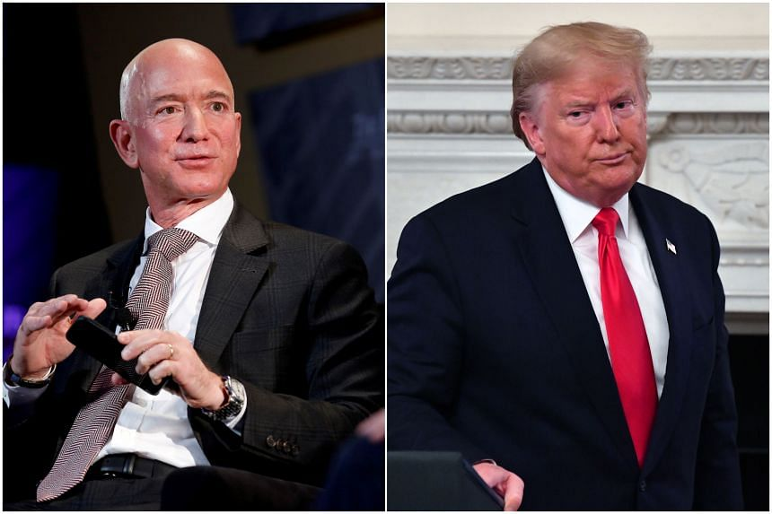 Amazon.com alleged that President Donald Trump (right), who has publicly derided Amazon head Jeff Bezos and repeatedly criticised the company, exerted undue influence on the decision to deny it the US$10 billion contract.