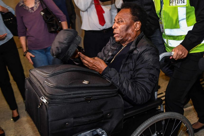 In a photo taken on April 9, 2019, Brazilian football great Pele is seen at Guarulhos International Airport, in Guarulhos, Brazil.