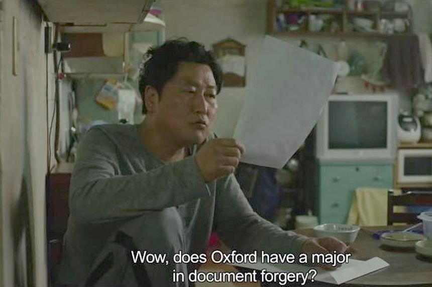 """Actor Song Kang-ho in Parasite. The movie's translations of cultural references for Western audiences include """"Oxford"""" and """"ram-don"""", which refers to an instant noodle dish."""