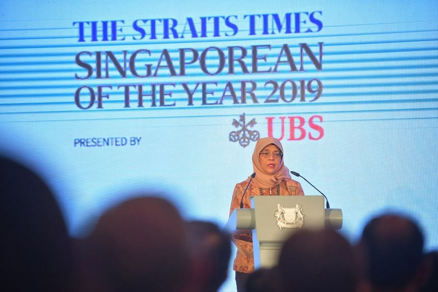 President Halimah Yacob speaking at the ceremony for The Straits Times Singaporean of the Year award at the Istana on Feb 11, 2020.