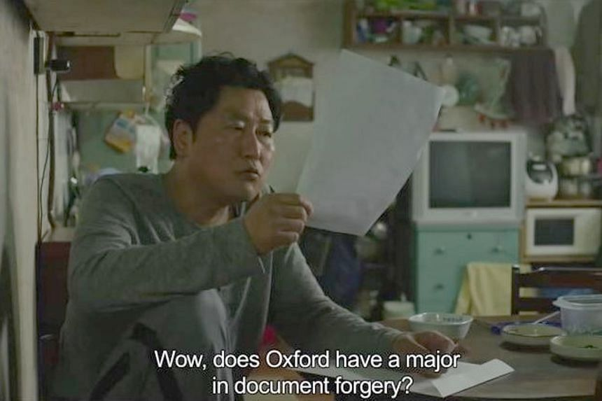 A still from Parasite (2019) with English subtitles. Director Bong Joon-ho credited the subtle and elegant translations with making the audience laugh, sigh and cry at the right moments.