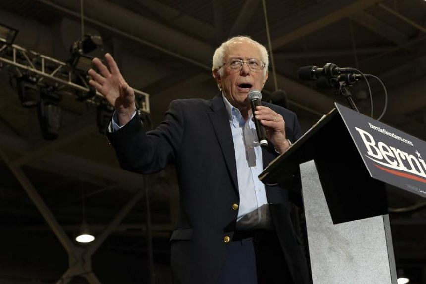 US Senator Bernie Sanders speaks to supporters during a Bernie Beats Trump campaign rally in New Hampshire on Feb 10, 2020.