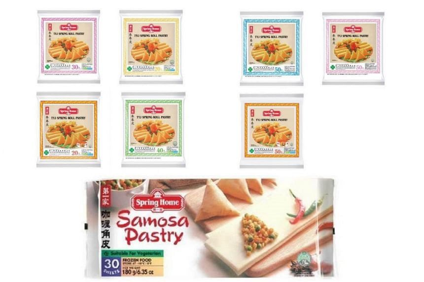 The items recalled include a range of Tee Yih Jia's Spring Home TYJ Spring Roll Pastry products, Spring Home Samosa Pastry, and Spring Home Chicken Spring Roll.