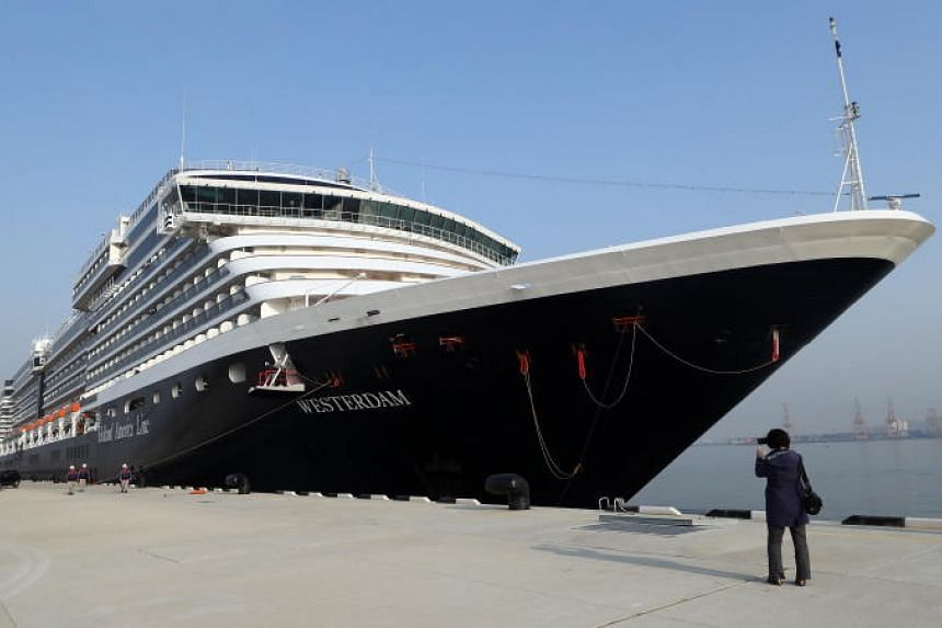 In this picture taken on Feb 27, 2019, the Westerdam cruise ship is moored at Incheon, South Korea.