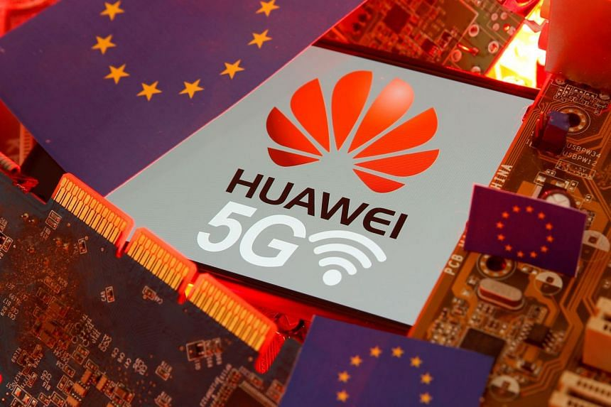 An illustration shows the EU flag and a smartphone with the Huawei and 5G network logo on a PC motherboard.