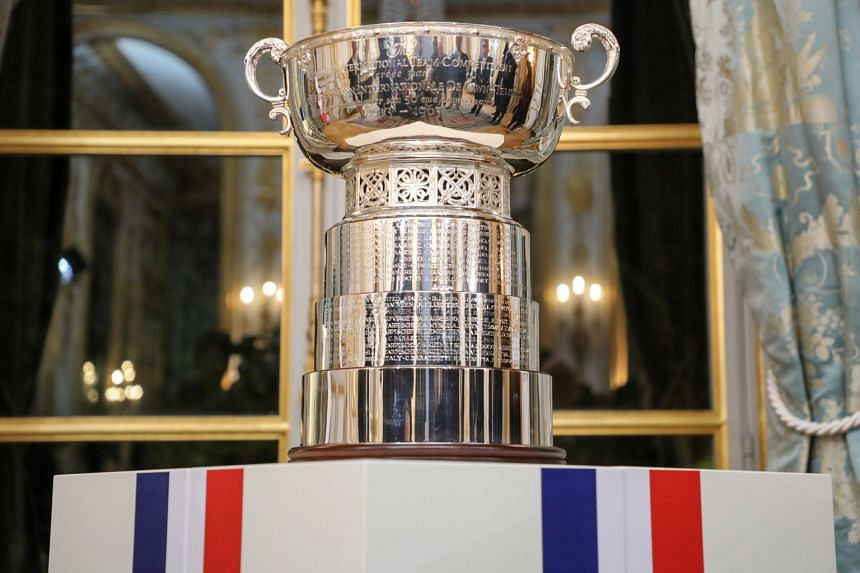 A general view of the Fed Cup's trophy displayed during a reception in Paris,Nov 12, 2019.