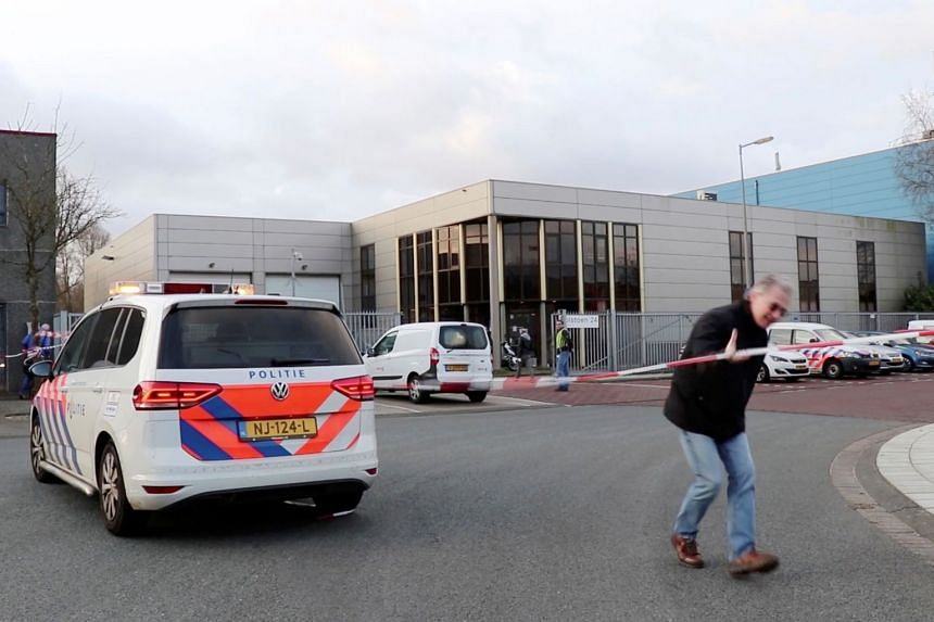 A view of an office building where a suspected letter bomb went off in the mail room, in Amsterdam.