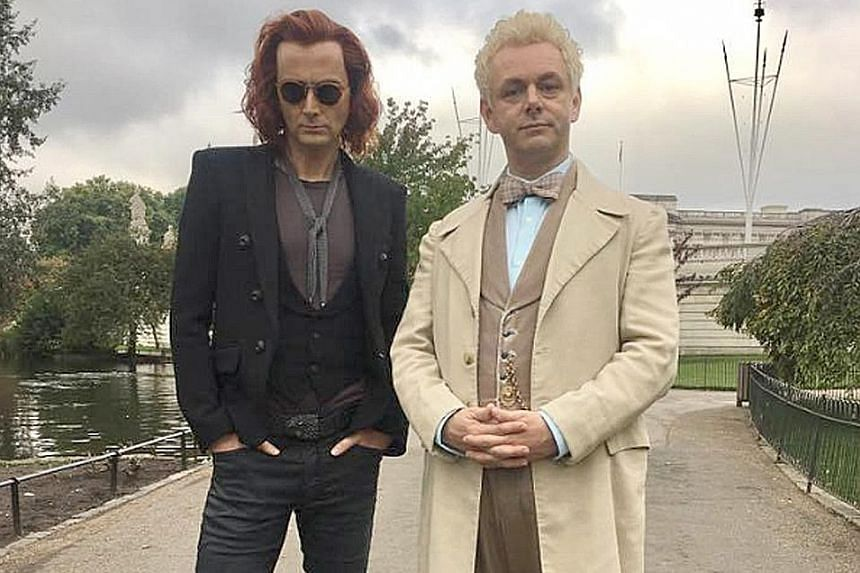 The television adaptation of the 1990 fantasy novel Good Omens by Neil Gaiman (above) stars David Tennant (far left) and Michael Sheen.