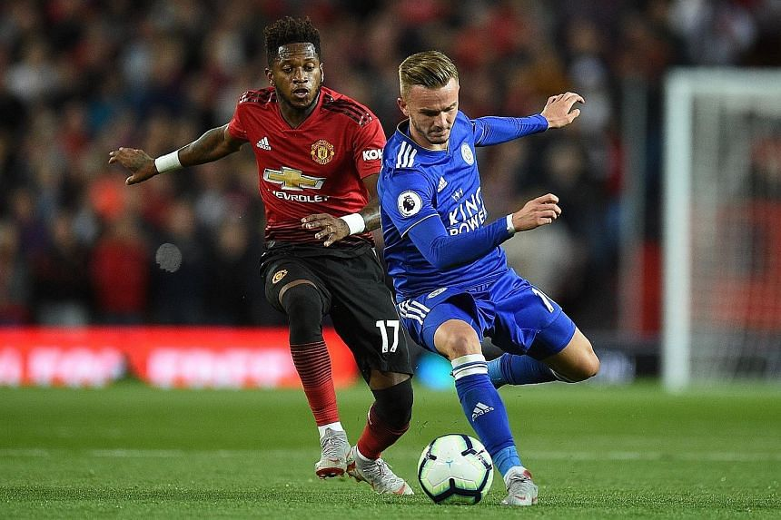United midfielder Fred marking Leicester midfielder James Maddison in 2018. The Englishman is among United's many options in the close season. PHOTO: AGENCE FRANCE-PRESSE