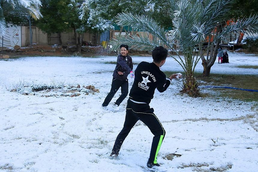 Iraqi boys playing with snow in the Shi'ite holy city of Karbala, south of the capital, yesterday. In Baghdad, the last recorded snowfall was in 2008, but it was a quick and mostly slushy affair - and prior to that, it had been a century since the ci