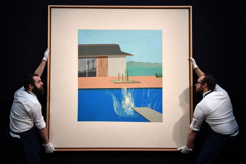 """Hockney painted """"The Splash"""" (above) when he lived in Los Angeles, where his long-running interest in swimming pool subjects began."""