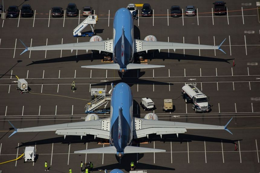 An August 2019 photo shows Boeing 737 Max planes parked on Boeing property in Seattle, Washington.