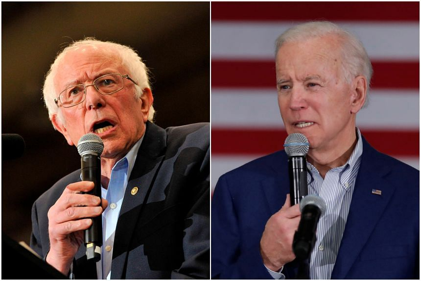 US Senator Bernie Sanders (left) led with 28.4 per cent while former front-runner Joe Biden was a distant fifth in the early results with 8.5 per cent.