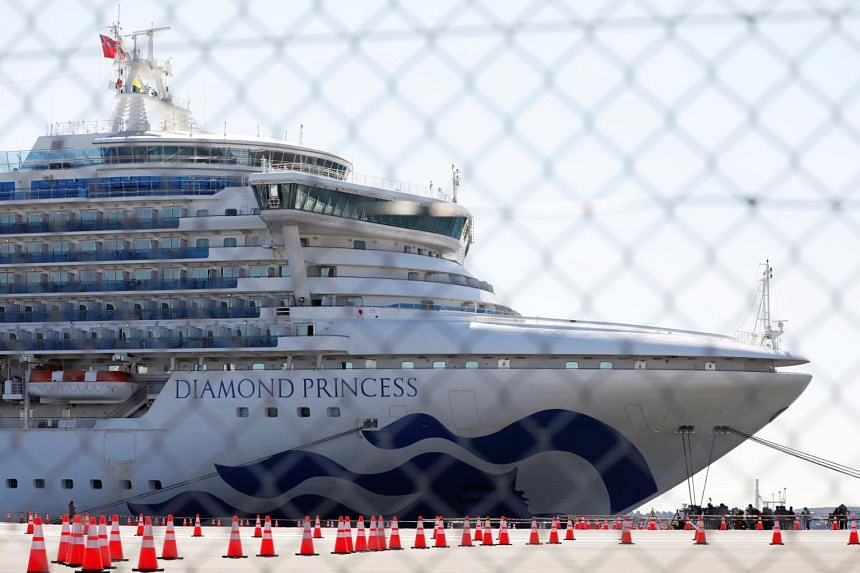 The cruise ship Diamond Princess at Daikoku Pier Cruise Terminal in Yokohama, south of Tokyo, Japan, on Feb 11, 2020.