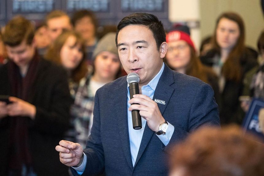 US Democratic presidential candidate Andrew Yang speaks during a campaign event at Hopkinton Town Hall, on Feb 9, 2020, in Hopkinton, New Hampshire.