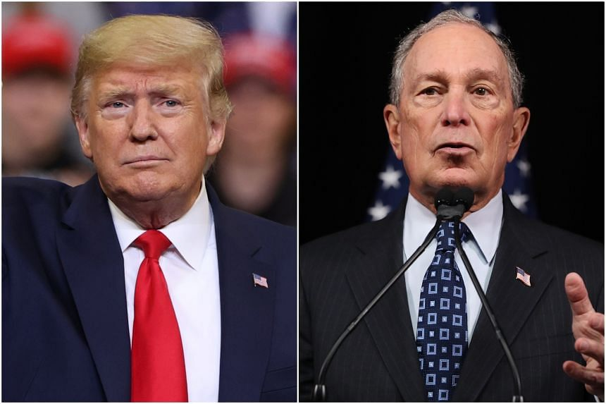 US President Donald Trump (left) delivered to his Twitter followers leaked audio from 2015 in which former New York mayor Michael Bloomberg offered an unflinching defence of stop-and-frisk policing for which he has since apologised.
