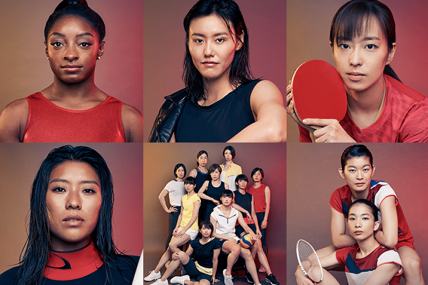 Clockwise, from top left: Simone Biles, the world's most decorated gymnast; Liu Xiang, world-record holder swimmer; Kasumi Ishikawa, table tennis player and two-time Olympic medallist; Ayaka Takahashi and Misaki Matsutomo, badminton duo and Olympic g