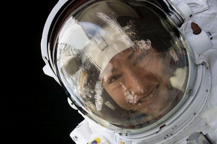 Nasa astronaut Christina Koch during a spacewalk on Jan 15, 2020.
