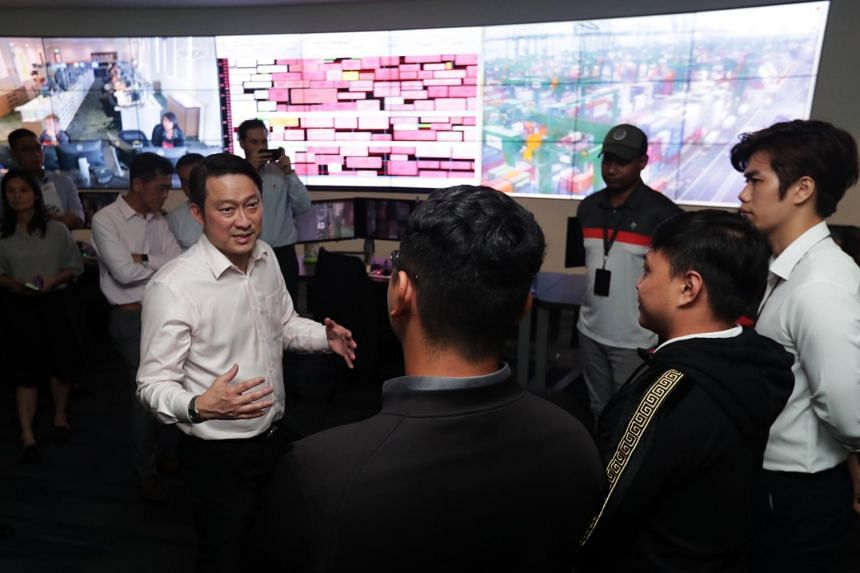 Senior Minister of State for Transport and Health Lam Pin Min during a visit to PSA Singapore at Pasir Panjang Terminal Building 3 on Feb 12, 2020.