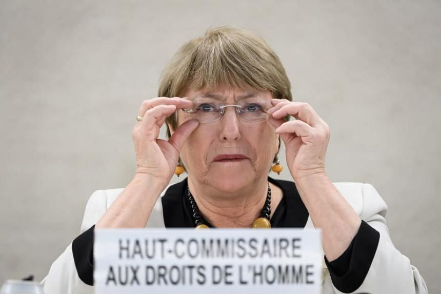 In a photo taken on Dec 18, 2019, UN High Commissioner for Human Rights Michelle Bachelet attends a meeting at the United Nations Offices in Geneva.