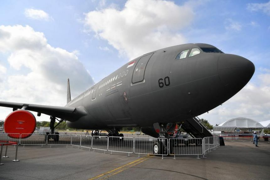 The A330 multi-role tanker transport as part of the static display during the Singapore Airshow 2020, on Feb 7, 2020.