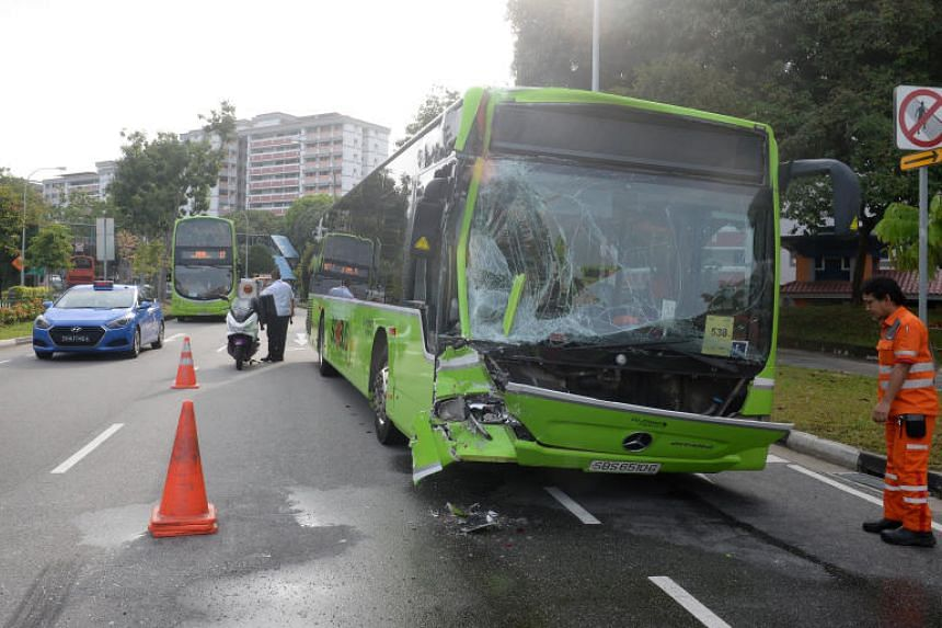 Three public buses were involved in a chain collision, injuring 11 people on Feb 12, 2020.