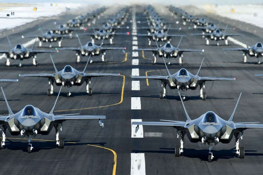 """US Air Force F-35A aircraft form up in an """"elephant walk"""" during an exercise in Utah, US."""