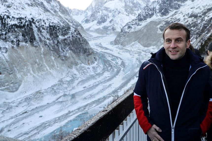 "Macron visits the ""Mer de Glace"", France's largest glacier which has shrunk dramatically in recent years in Chamonix, France."