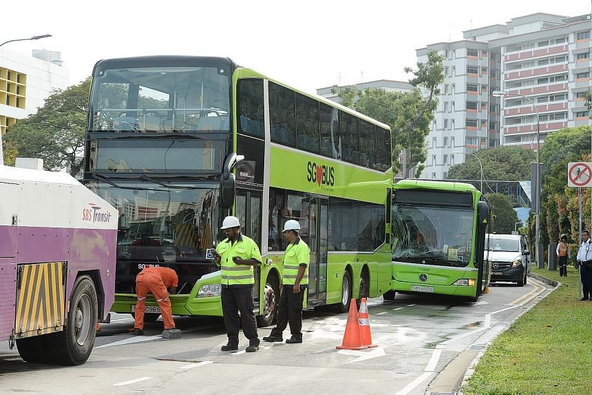 Three public buses were involved in a chain collision yesterday, injuring 11 people who were taken to hospital. Two SBS Transit buses - services 19 and 37 - and bus service 34 operated by Go-Ahead Singapore were involved in the collision at 6.45am at