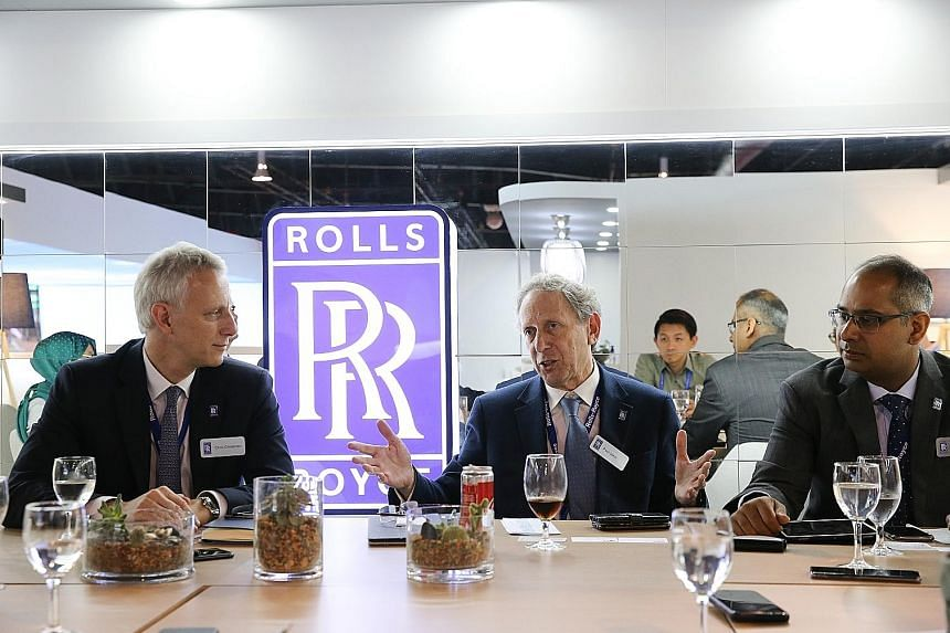 (From left) Rolls-Royce president for civil aerospace Chris Cholerton, Rolls-Royce chief technology officer Paul Stein and Rolls-Royce president for South-east Asia, Pacific and South Korea Bicky Bhangu, at the media roundtable yesterday.