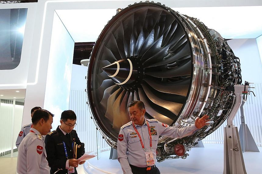 The Trent XWB, the world's most efficient large aero engine, showcased at the Rolls-Royce booth. The firm will be hiring 230 more people here this year as it moves to increase its plane engine production capacity.