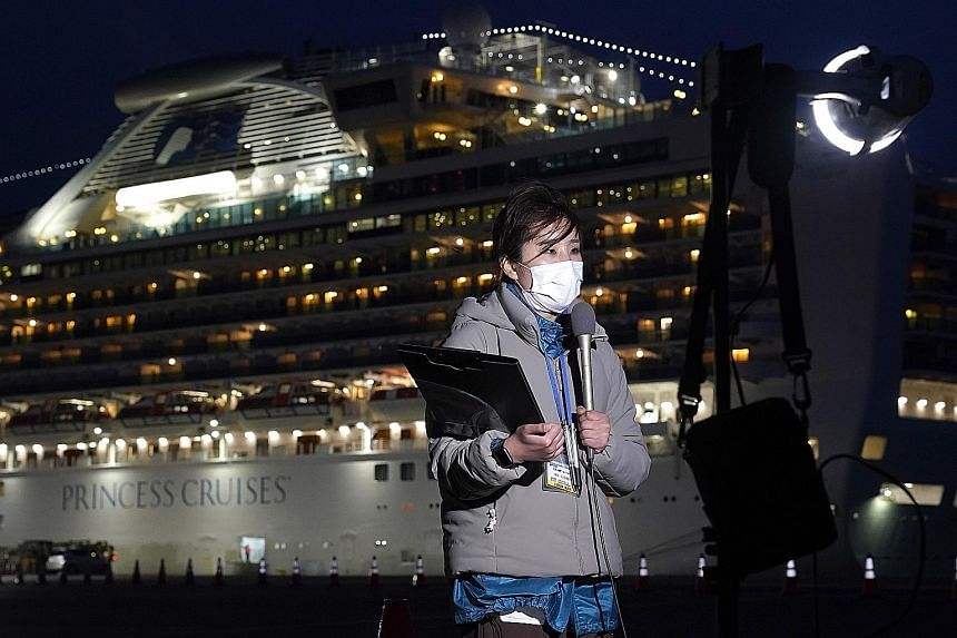 A journalist reporting yesterday from Yokohama, where the Diamond Princess cruise ship is docked. There were 174 coronavirus cases on the luxury cruise liner as of yesterday, out of 3,711 people on the ship's manifest - but only 492 people have been