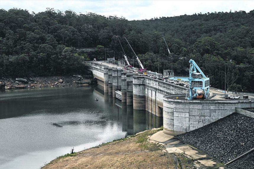 Water levels seen at Warragamba Dam in Sydney on Feb 10, 2020.
