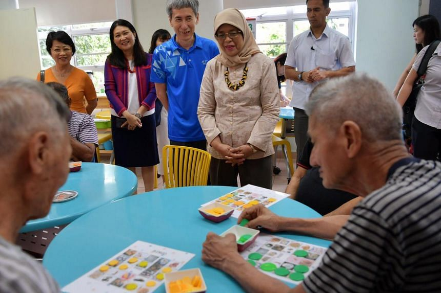 President Halimah Yacob at the Christalite Methodist Home as part of community engagement on Feb 13, 2020.