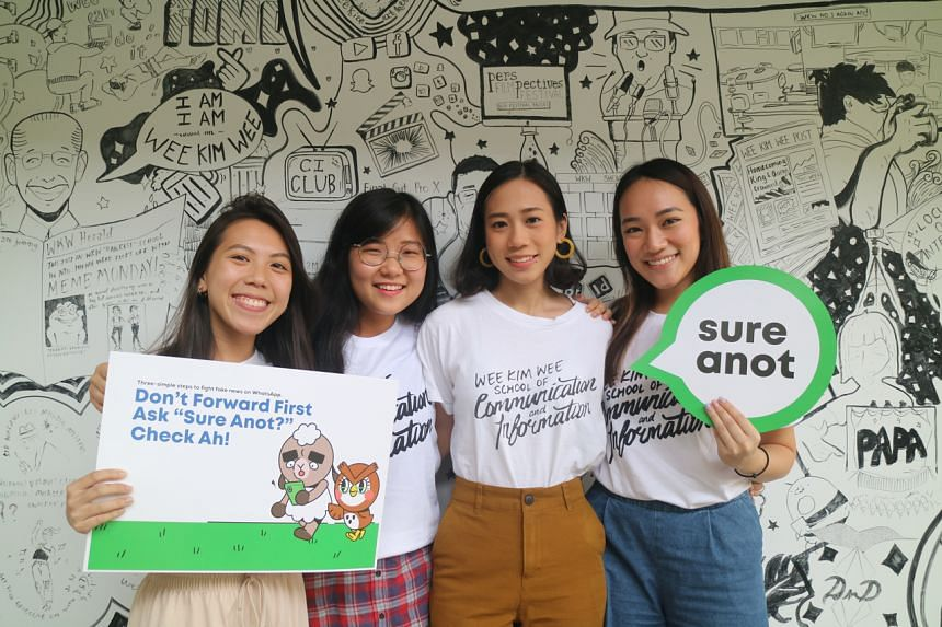 (From left) Vernette Didier Chia, Lee Yun Ting, Kelley Lim and Rachel Anne Chew are behind Sure Anot, an anti-fake news awareness campaign.