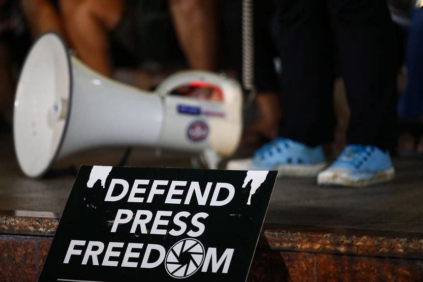 A sign about press freedom is displayed during a protest against moves to shutdown ABS-CBN network, in Quezon City, east of Manila, Philippines, on Feb 10, 2020.