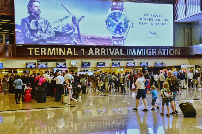 Visitors inside the Changi Airport T1 Arrival Immigration.