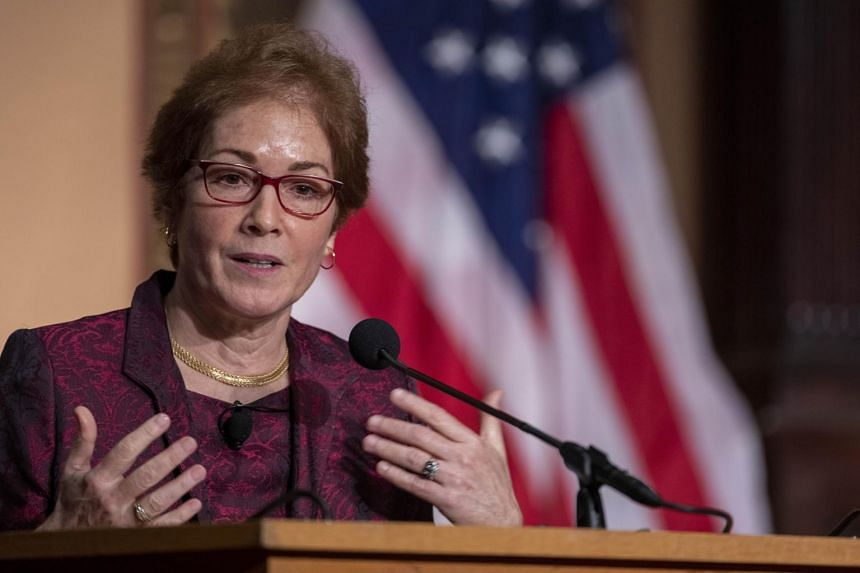 Former US Ambassador Marie Yovanovitch speaks during an awards ceremony at the Georgetown University on Feb 12, 2020.