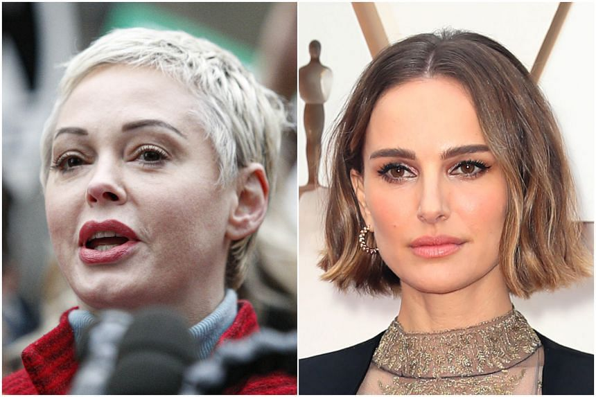 """Rose McGowan (left) said she found Natalie Portman's red carpet Oscar protest """"deeply offensive to those of us who actually do the work""""."""
