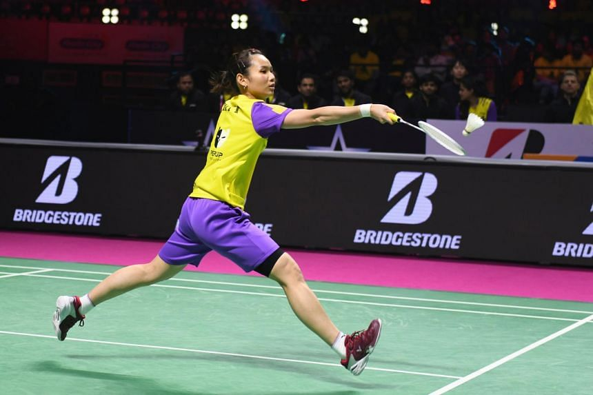 Tai Tzu Ying of Bengaluru Raptors hits a return to Michelle Li (not pictured) of North Eastern Warriors during their women's singles final match in Hyderabad, on Feb 9, 2020.