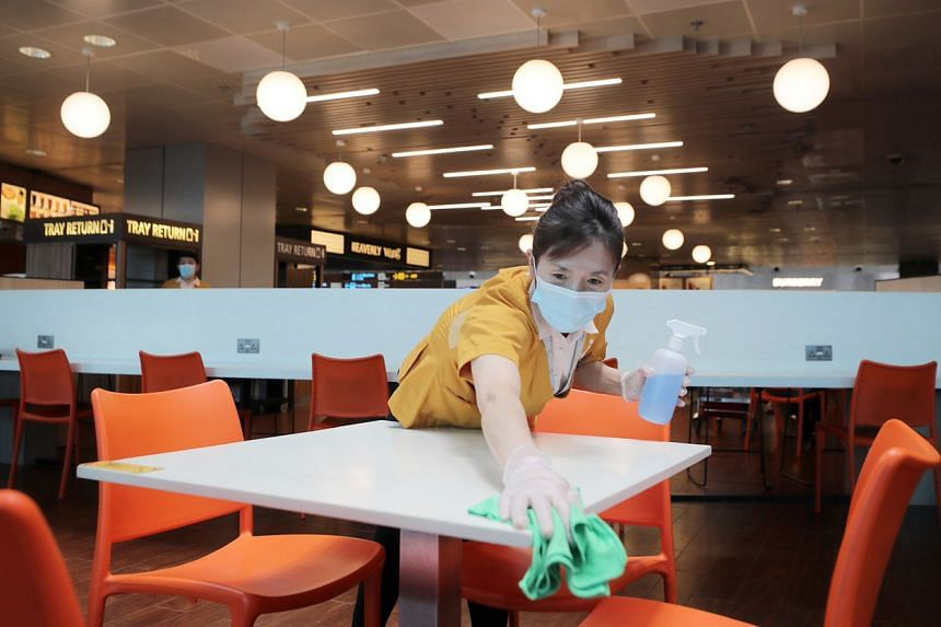 Cleaners at Changi Airport are now also using disinfectants on other surfaces and areas instead of general purpose cleaning solutions.