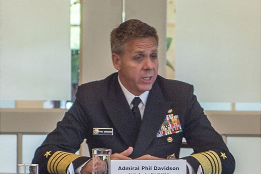 In a photo taken on March 7, 2019, Commander of the US Indo-Pacific Command Admiral Philip Davidson speaks with the media at the Chief of Mission Residence.