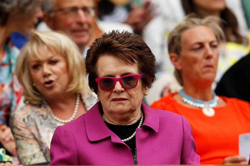 Billie Jean King (centre) sits in the Royal Box at the All England Lawn Tennis and Croquet Club, in London, on Jul 10, 2018. She believes allowing coaches to signal to players from the stands during matches will create more interest in tennis.