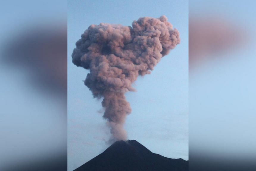 Ashes spew from Mount Merapi during an eruption in Yogyakarta, Indonesia, on Feb 13, 2020.
