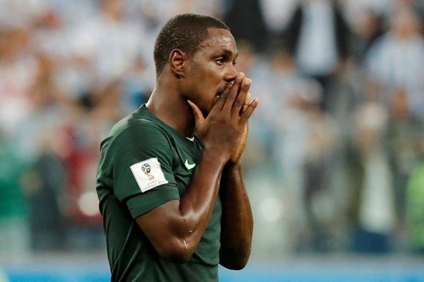 In a file photo taken on June 26, 2018, Nigerian football player Odion Ighalo seen at the World Cup Group D match against Argentina in Russia.