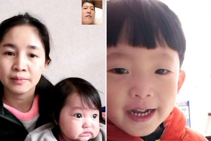 Mr David Cher on a video call with his wife Hu Lamei, 36, and eightmonth- old daughter Zi Qi while in quarantine at Aloha Changi resort. He also spoke to his two-year-old son Shi Jie (right), via video call.