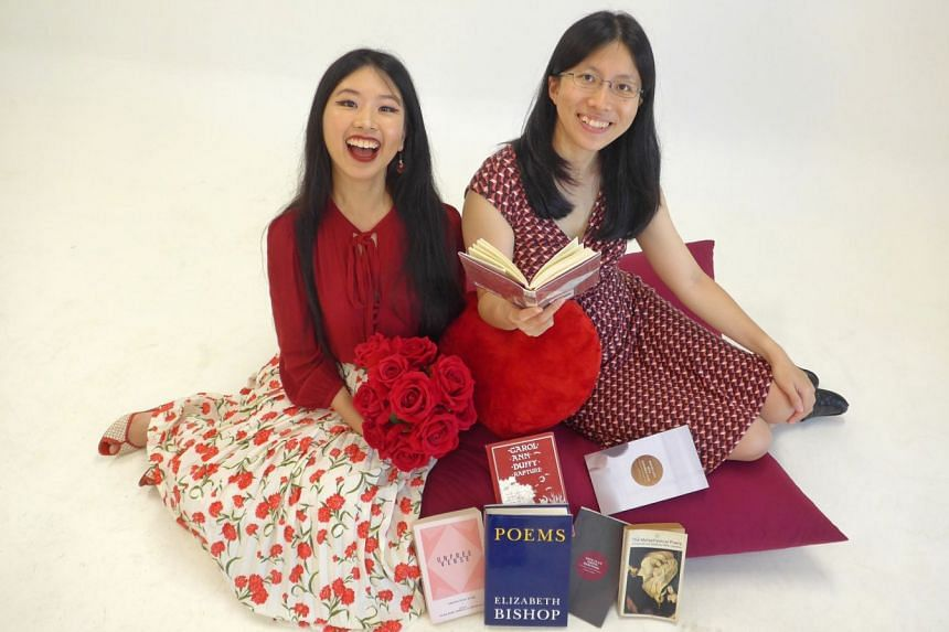 Journalists Olivia Ho (left) and Toh Wen Li discuss love poems in their podcast.